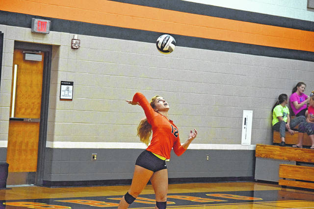 Wheelersburg's Mia Darnell gets ready to serve a ball against Waverly.