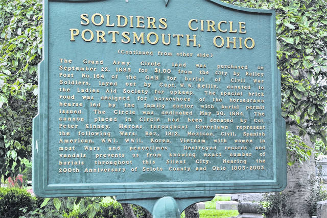 The sign in Greenlawn Cemetery for the Soldier's Circle.
