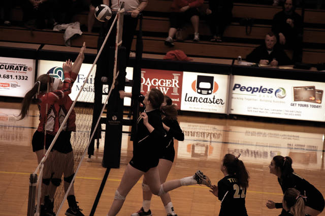 Notre Dame's Katie Dettwiller launches an attack attempt over the net against Fairfield Christian