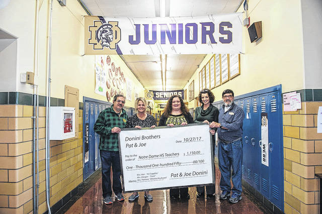 Pictured are brothers Pat and Joe Donini, nephews of Margaret Ferrell, who established a fund at the Scioto Foundation to benefit many local organizations. NDHS teachers Anissa Harr, Stephanie Patmore and Cheri Morgan are also pictured. One of the provisions of the fund is a teacher award of $1,000 to benefit an elementary or high school teacher of the Notre Dame Schools. Because there were many teachers who applied this year, Joe and Pat decided to help fulfill some of the other teacher's requests, in addition to the $1,000 provided by the fund. A NDE teacher received the $1,000 award.