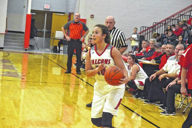 Minford's Erin Daniels looks to find an opening in a prior contest.