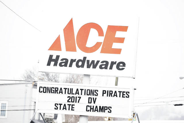 Signs across Wheelersburg showing support for the Wheelersburg football program and its 2017 state championship. The title is the fifth for the Wheelersburg athletic program in a five-and-a-half year span.