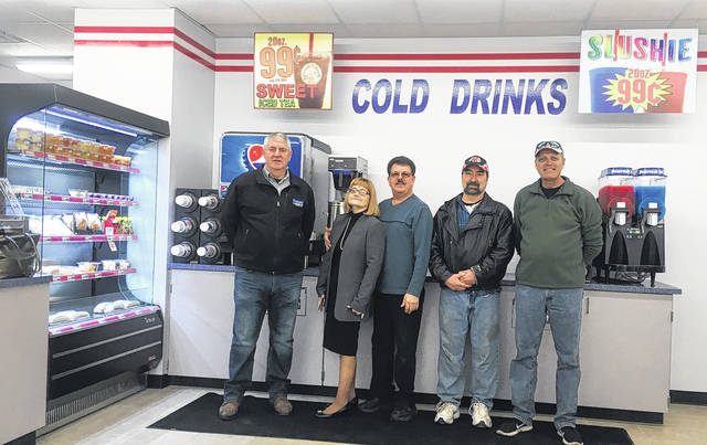 Bill Runyon - Clay Township Trustees, Marilee Stephenson - Attorney, Robert Cantrell - Owner, Tony Whitt & Tim Hines - Clay Township Trustees at the opening of the 1st Stop Market