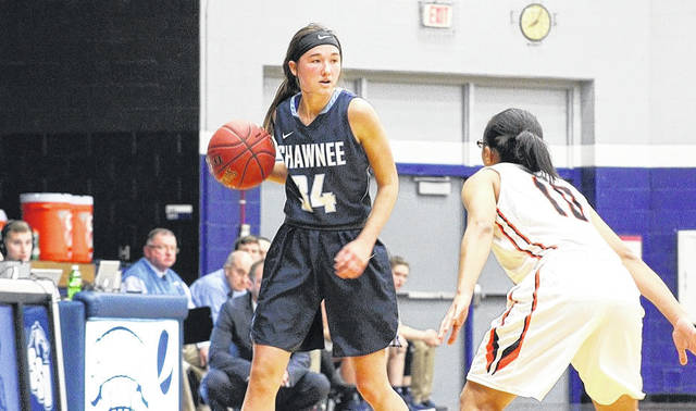 Shawnee State's Bailey Cummins dribbles the basketball in the backcourt.