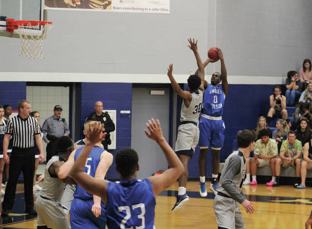 EJ Onu contests a jumper taken by Lindsey Wilson's Nic Brown.