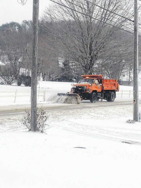 Scioto County road crew treating Lucasville Minford Road, Saturday, 10:06 a.m. during 16 degree temperatures.