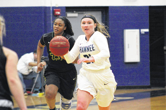 Madison Ridout dribbles the ball up the floor against Life (Ga.) on Thursday evening.