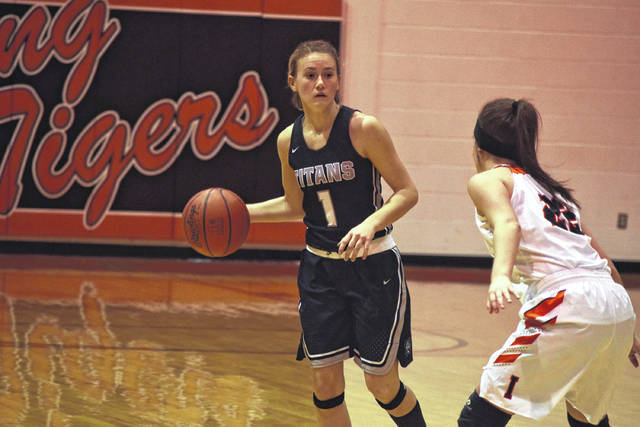 Notre Dame's Molly Hoover gets the Lady Titans set up in an offense on Saturday evening against Ironton.