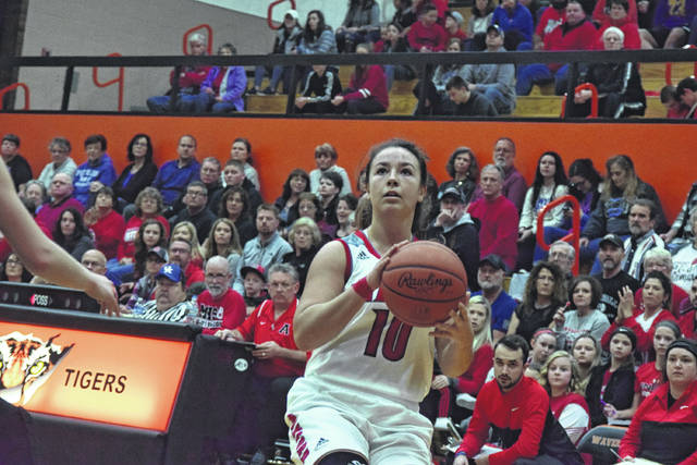 Minford's Erin Daniels gathers for a jump shot.