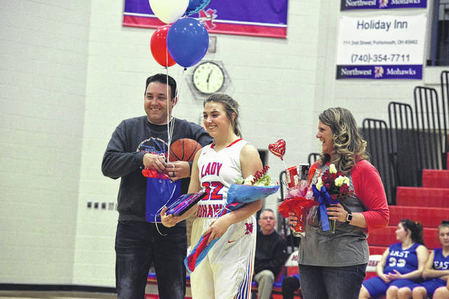 Northwest's Abby Baer is honored before the Lady Mohawks' contest against East as part of Senior Night.