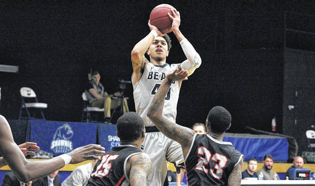 Shawnee State's Fred Moore shoots a jumper over a Pikeville defender in a prior contest.