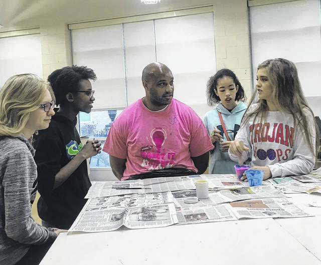 From left, Lauren Donges, Sarah Simmons, Gerald Cadogan, Cameryn King and Hannah Hughes