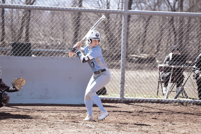 Shawnee State's Michal Cunningham begins her swing against Cumberland (Tenn.) on Friday.