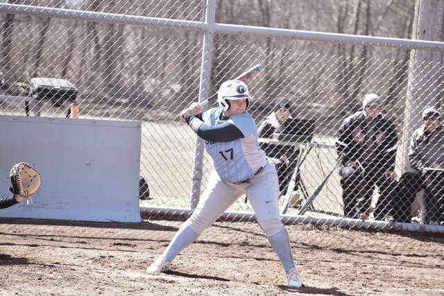 Shawnee State's Marisa Brown steps into her swing against Cumberland (Tenn.)