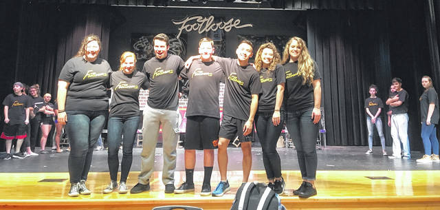 "Performers for ""Footloose"" include (from left) Hannah Newman, Katy Todt, Luke Miler, Jacob Lore, Jason Nham, Jenna Young and Natalie Percell."