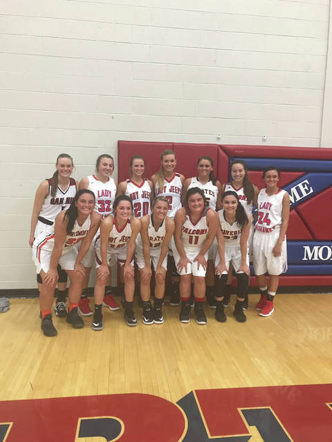 Front row (left to right): Makayla White, Kaylee Hadinger, Ellie Ruby, Marissa Risner, Zoiee Smith. Back row (left to right: Bailey Ward, Abby Baer, Avery Zempter, Ellie Jo Johnson, Leann Spradlin, Erin Daniels, Magen McClurg.