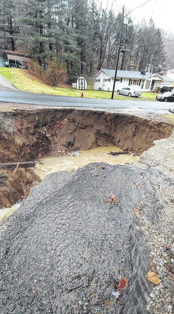 A hole big enough to swallow a car has appeared on the property of Ryan and Ella Gregory in Clay Township.