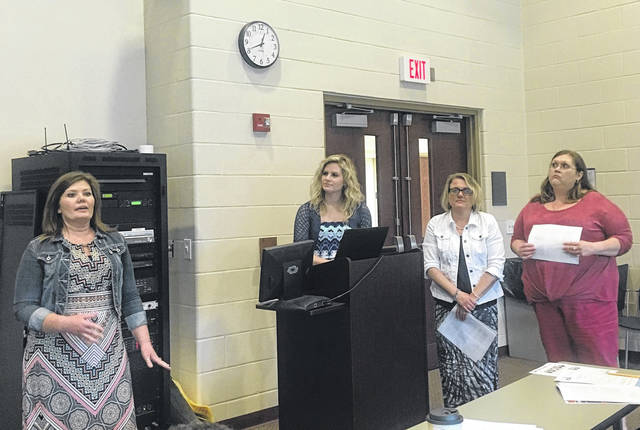 From left, Jennifer Mitchell, Emily Crandall, Julie Sanders-Johnson and Krista Hayes from PHS spoke on positive rewards.