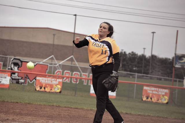 Valley's Faith Brown throws a pitch on Monday evening.