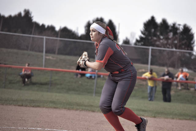 Minford's Hannah Tolle goes into her windup on Friday evening.