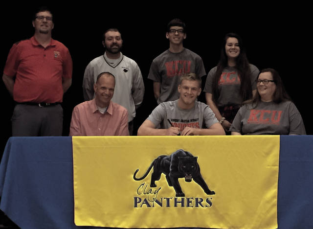 Clay's Caleb Cline signed to play golf at Kentucky Christian University on Tuesday afternoon in Rosemount.