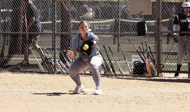 Shawnee State's Kayla Koch fields a softball during a prior contest.