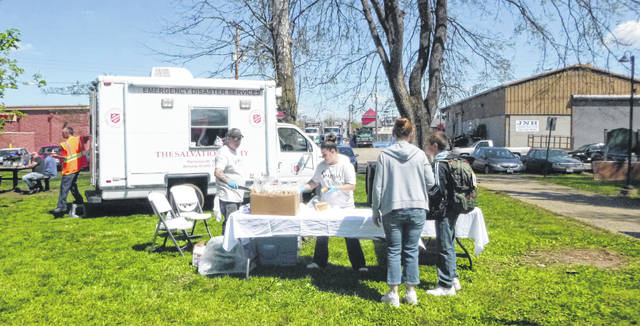 The Salvation Army and Sonora's Restaurant helped distribute food.