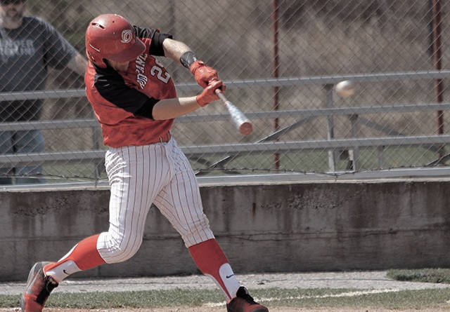 Rio Grande's Dylan Shockley obtains a hit during the RedStorm's series against Cincinnati Christian.