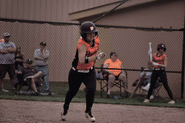 Wheelersburg's Boo Sturgill sprints down the first base line.
