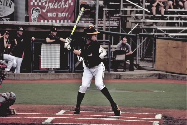 West's Dylan Bradford stands in the batter's box.