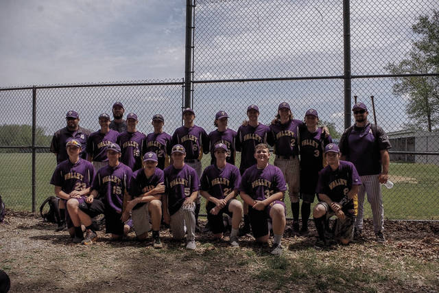 The 2018 Valley Indians' baseball program stands together after winning a Division III Sectional Championship.