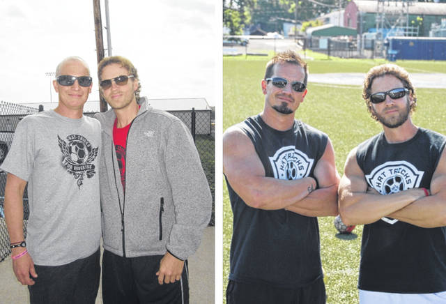 On left, Nathan Bennington and his friend Matt at the first Hat-Tricks for Hodgkin's soccer tournament. At right, the same pair five years later. Bennington is on the right in both photos.