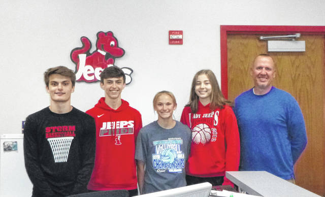 Eighth graders from Bloom-Vernon Junior High headed for Saturday's State Junior High Meet in Lancaster are (from left) Brady Blizzard, Trae Zimmerman, Bri Claxon and Faith Maloney with their coach, Jeremy Newman.
