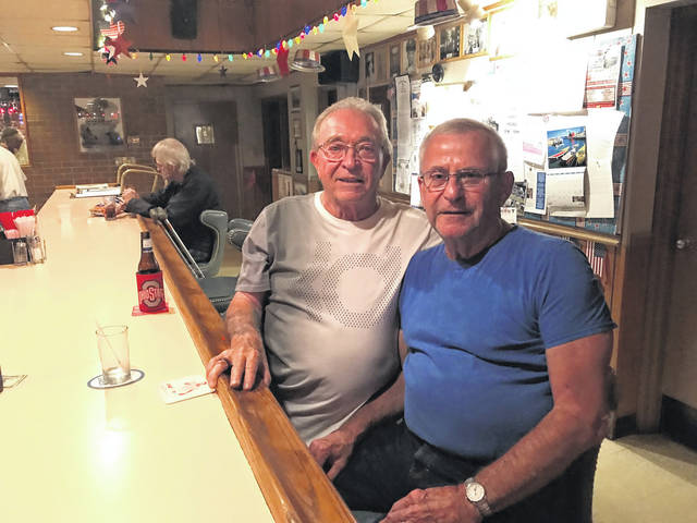 Legion 23 members Lonnie Edwards, left, anf Jim Pinson have a cold one in Post 23's canteen.