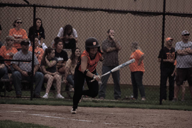 Wheelersburg's Boo Sturgill takes off to first base.