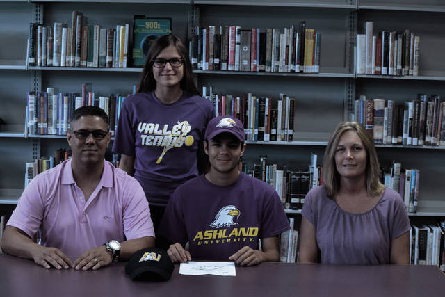 Valley's Brandon Phillips, who, along with fellow upperclassman Nate Crabtree, led the Indians to a quarterfinal appearance in the Division II East/Southeast District Tennis Tournament, signed with the Ashland University men's tennis program for the 2018-19 season on forward.