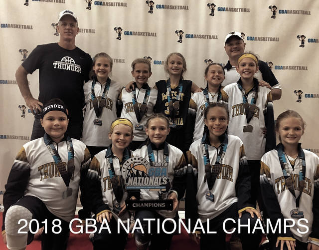 The West Virginia Thunder fourth grade unit. Front row, left to right: Karson Jones (St. Albans (W. Va)), Kendall Taylor (Coal Grove), Sophi Hutchison (Chesapeake), Sienna Allen (Portsmouth), and Annie Ruth (Marietta). Back row, left to right: Coach Bruce Morris, Addyson Cornell (Fairland), Taegan Leep (Fairland), Bailey Russell (Fairland), Naomi Maynard (Ceredo (W. Va.) Vinson), Addison Godby (Fairland) and Coach Chris Staten.
