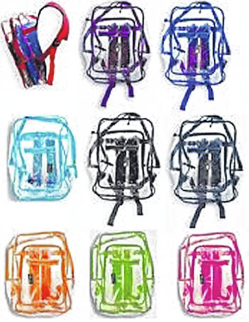 Some of the clear backpacks with different color trim