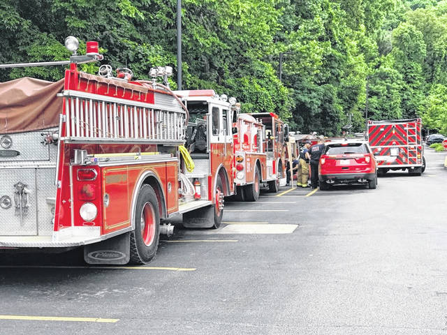 Fire trucks line up to deliver water to Southern Ohio Medical Center during the recent water crisis in Portsmouth.