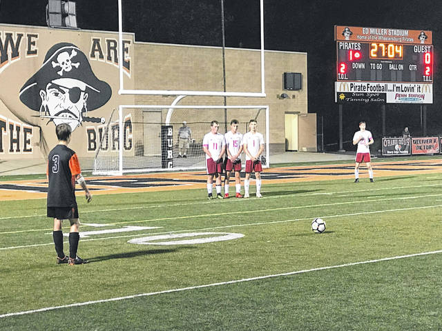 Wheelersburg sophomore Aaron Jolly lines up for a free kick in their 1-1 tie Thursday evening versus the Minford Falcons.