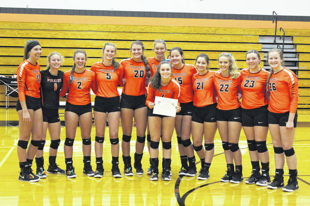 Abbie Kallner was honored for her 1500th assist Tuesday night in Wheelersburg's victory over the Valley Indians.