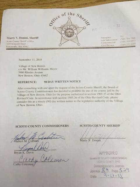 A copy of the 90 day notice sent to the Village of New Boston Council by Scioto County Sheriff Marty V. Donini.