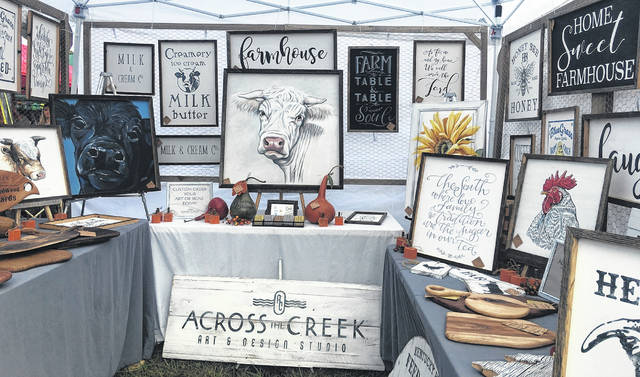 Across the Creek Art & Design Studio, artist and owner, Chris Aboon's hand made art work.