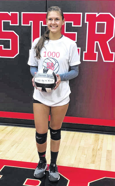 South Webster senior Hannah Spergin became the first Jeep to record her 1,000th career dig in her team's match last Tuesday vs. Portsmouth West.