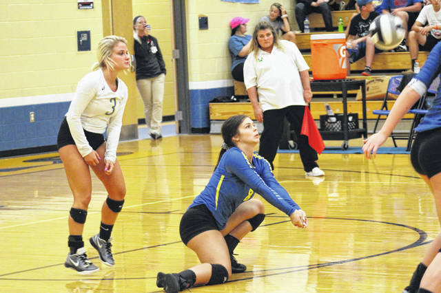 Clay senior Skylar Artis receives a serve from Valley in the Panthers straight set victory over the Indians Monday night.