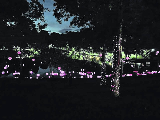 Somc's Light It Up Pink after all the lanterns were placed in the pond at Hillview Retirement Pond