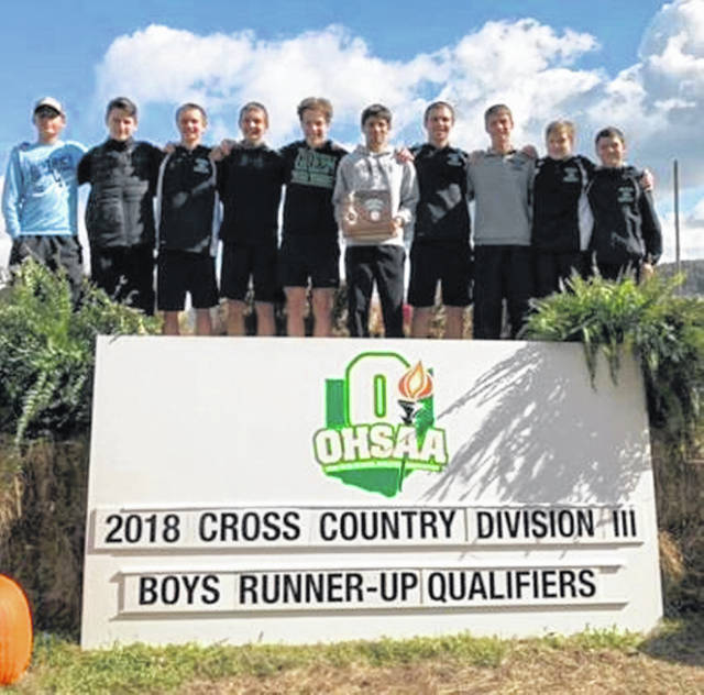 The Green Bobcats cross country team qualified for the regional competition with their district runner up finish on Saturday. From L to R: Lethan Poe, Kaleb LaFollette, Zach Huffman, Ethan Huffman, Baley Derifield, James Hallam, Tayte Carver, Tanner Kimbler, Kellen Abrams, Austin Summers.