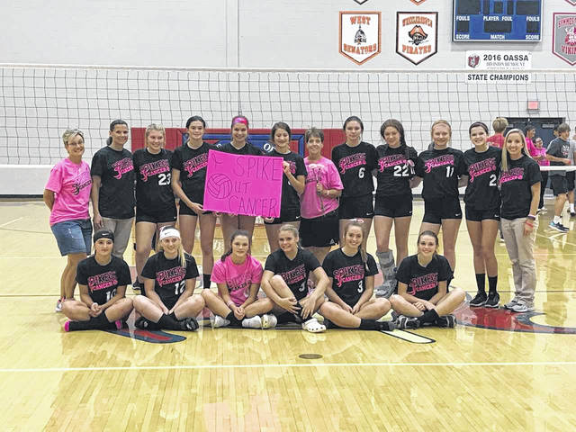 The Northwest Lady Mohawks raised over $800 for the SOMC compassion fund in their Spike Out Cancer match.