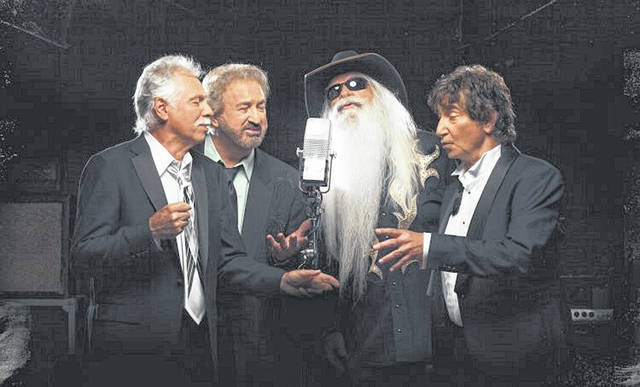 The Oak Ridge Boys from the cover of their latest album. Sterban, 75, has the darkest hair, because, as he admits, he dyes it.