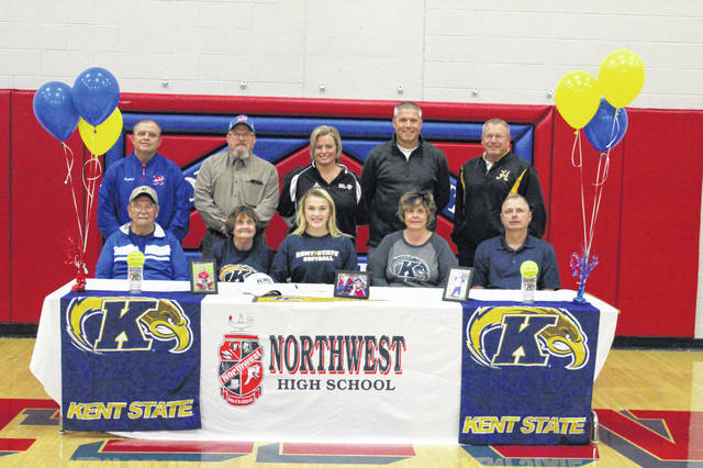 Northwest senior Laiken Rice with friends, family, and coaches at her signing day Wednesday afternoon.
